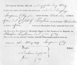 The marriage certificate of Elizabeth Cressman