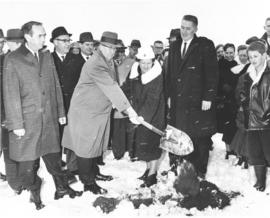 Ground breaking, AC cottages. l-r:Mayor, Charlie