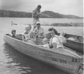 Boating at Chesley Lake Camp