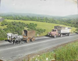 Photograph of conestoga wagon being pulled by