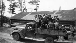 Heading to work from the Montreal River Alternative Service Work Camp, 1941