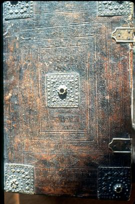 Cover of Schneider family Bible of 1560. This is