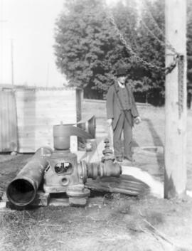 Abraham M. Bowman with newly drilled well at
