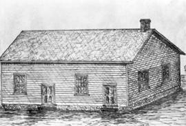 Sketch of Meetinghouse used by Moyer Mennonite