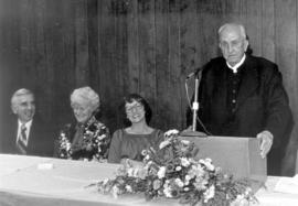 E.J. Swalm speaking on the occasion of receiving