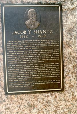 (Colour) Plaque for Jacob Y. Shantz erected by