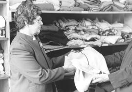 Erma Cressman at the Clothing Centre