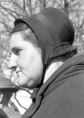 Old Order Mennonite woman; good picture of bonnet