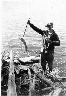 Fishing near Montreal River Alternative Service Work Camp, 1941