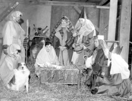 Youth in outdoor nativity scene