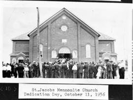 Crowd gathered outside of church during the