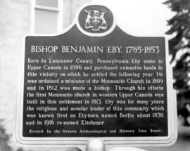 Benjamin Eby historical plaque erected at First