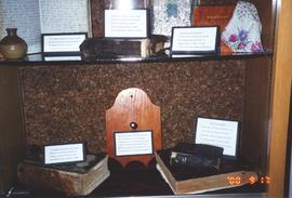 Display cases in foyer of Fairview Mennonite Home Apartments