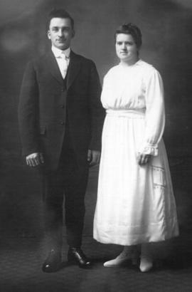 Formal wedding photo of Abner Good and Mary Ann