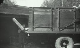 Loading truck with cardboard