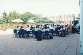 Spring term banquet on the patio at Conrad Grebel