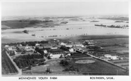 Aerial view of the Mennonite Youth Farm and farmland to the north of it