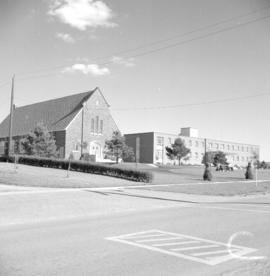 Preston Mennonite Church with Fairview Mennonite Home in the background