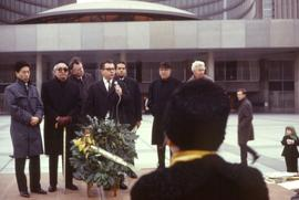 Frank H. Epp speaking in front of the Toronto City Hall