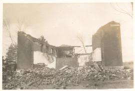Aftermath of the fire at Hagey Mennonite Church, 1953