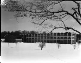 Exterior of Conrad Grebel College, shortly after its construction