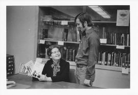 Librarian Irma Kadela in the library of Conrad Grebel