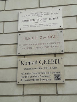 Plaque commemorating Leibniz, Zwingli and Grebel