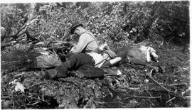 Resting after lunch near Montreal River Alternative Service Work Camp, 1941