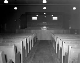 Interior view of the Grossweide Mennonite Brethren Church (Plum Coulee, Manitoba)