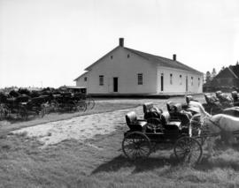 Old Order Mennonite Meetinghouse with buggies