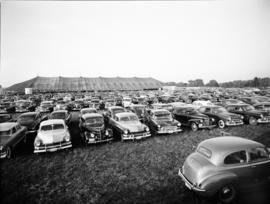 Cars parked at Brunk revival meeting in Waterloo,