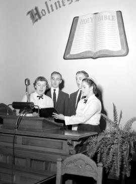 Rockway Mennonite School quartet taken at St. Jacobs Mennonite church, 1957