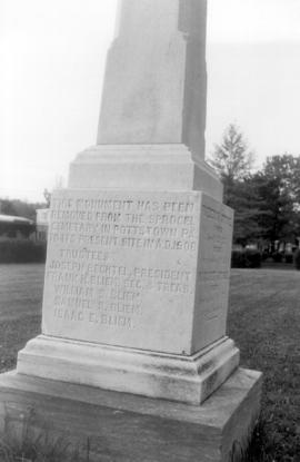 Inscription on monument placed on top of graves