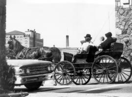 Old Order Mennonite family traveling by buggy