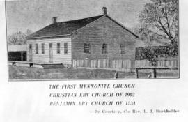 Copy of the 1834 Benjamin Eby church in Kitchener, Ontario