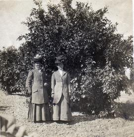 Amelia Bergey (right) with unidentified friend.