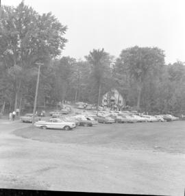 Cars lined up, on the civic holiday weekend,