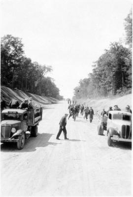 Returning to Camp from Work near Montreal River Alternative Service Work Camp, 1941