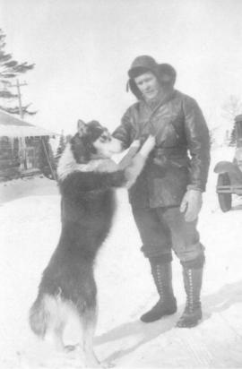 Moses Gerber with camp dog