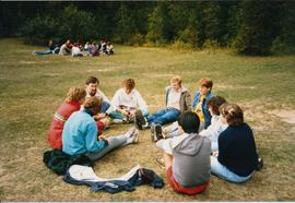 Student circle at the Grebel all-college retreat