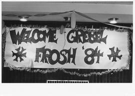 "Welcome sign reading ""Welcome Grebel Frosh '84"""