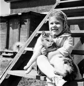 Joy Hunsberger and her cat in Waterloo County, Ontario