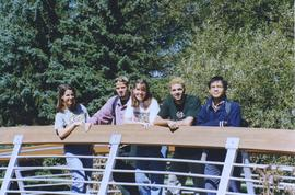 Grebel students on footbridge