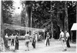 Alternative Service workers playing volleyball