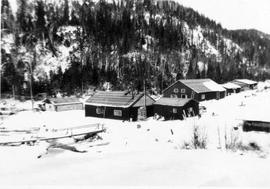 Mess hall and bunk houses, Pigeon Timber Company Camp 69
