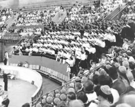 Choir of young people singing at the Mennonite World Conference, 1962