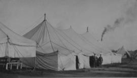 118th Battalion soldiers standing outside their tent