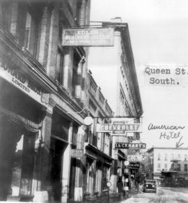 A view of Queen St. South with the American hotel