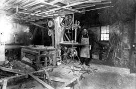 Aaron Brubacher in his wagon shop in St. Jacobs, Ontario