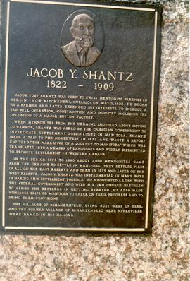 Plaque erected for Jacob Y. Shantz in Southern